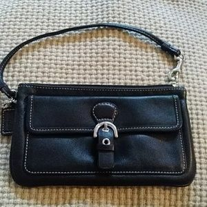 Coach black leather wristle bag